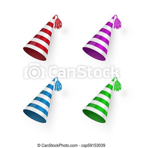 hats., barwny, urodziny, set., odizolowany, ilustracja, wektor, tło, pasiasty, kapelusz, biały - csp59153039