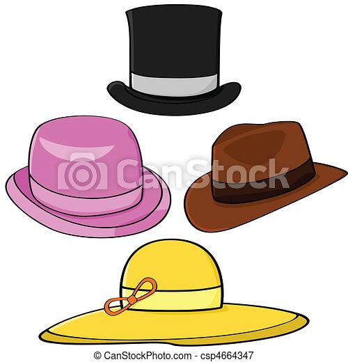 cartoon illustration set of four different hats vectors illustration