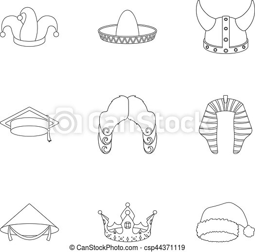 Hats Set Icons In Outline Style Big Collection Of Hats Vector