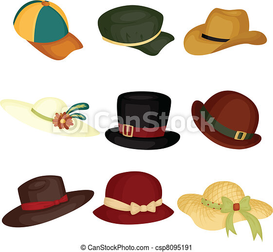 hats a vector illustration of different type of hats rh canstockphoto com clip art hats free clip art hats free