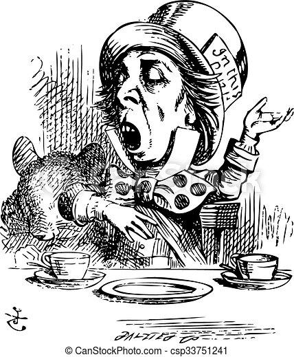 Hatter engaging in rhetoric, Alice in Wonderland original vintage engraving. - csp33751241