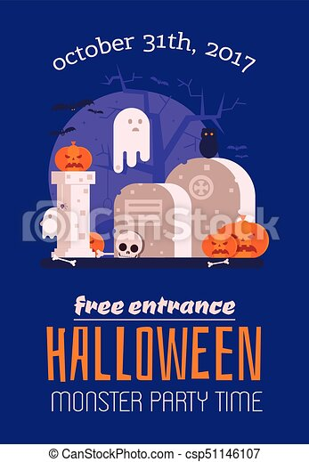 Haunted graveyard halloween card halloween invitation card with haunted graveyard halloween card csp51146107 stopboris Choice Image