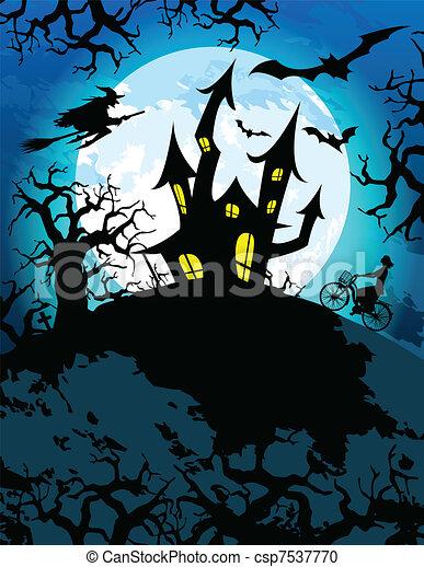 Haunted Halloween Theme - csp7537770