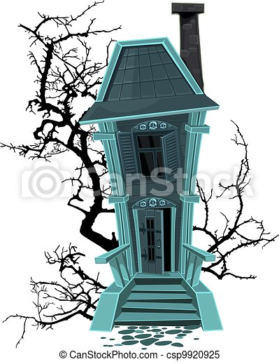 Haunted halloween witch house - csp9920925