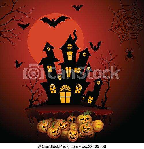 Haunted Horror House In Halloween Night Vector Illustration Of
