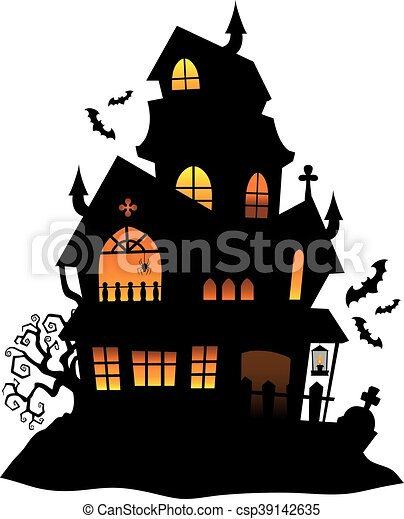haunted house silhouette theme image 1 eps10 vector vectors rh canstockphoto com