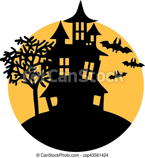 haunted house with bats and moon vector illustration search rh canstockphoto com haunted house victoria tx haunted house victoria tx