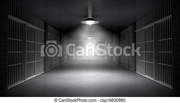 Haunted Jail Corridor And Cells - csp16630880