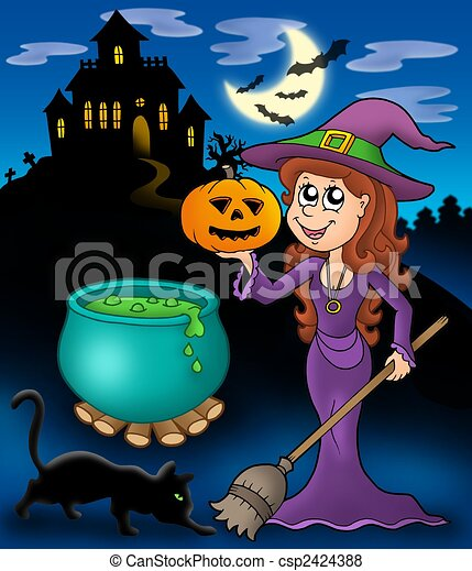 Haunted Mansion With Wizard Girl Color Illustration