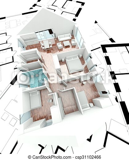 Haus, 3d, Plan, übertragung   Csp31102466