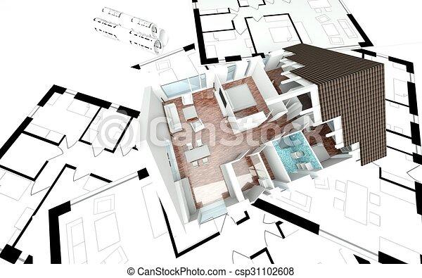 Haus, 3d, Plan, übertragung   Csp31102608