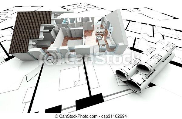 Haus, 3d, Plan, übertragung   Csp31102694