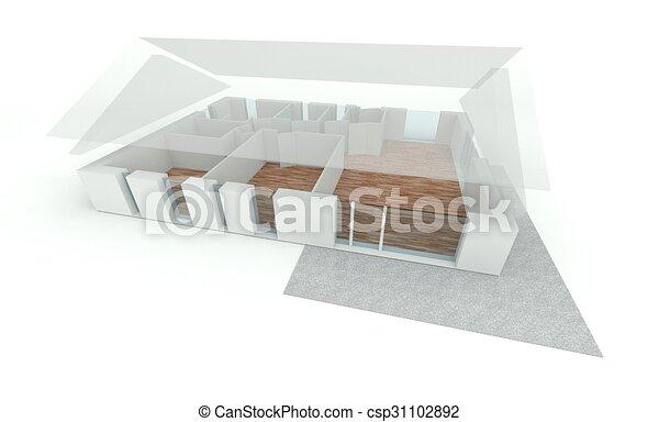 Haus, 3d, Plan, übertragung   Csp31102892