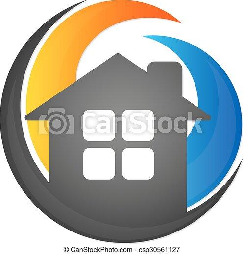 Haus, abkühlen, heizung. Symbol, heizung, haus, luft,... Vektor ...