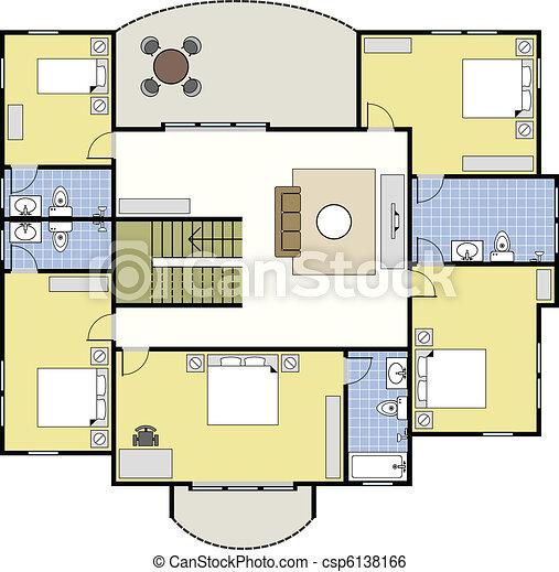 haus, architektur, floorplan, plan - csp6138166