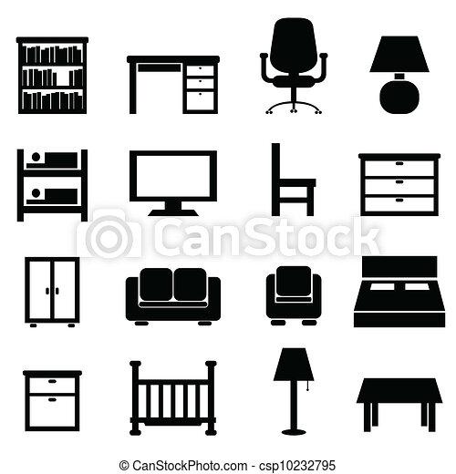 Haus, büromöbel. Haus- ikone, satz, büromöbel EPS Vektoren - Suche ...