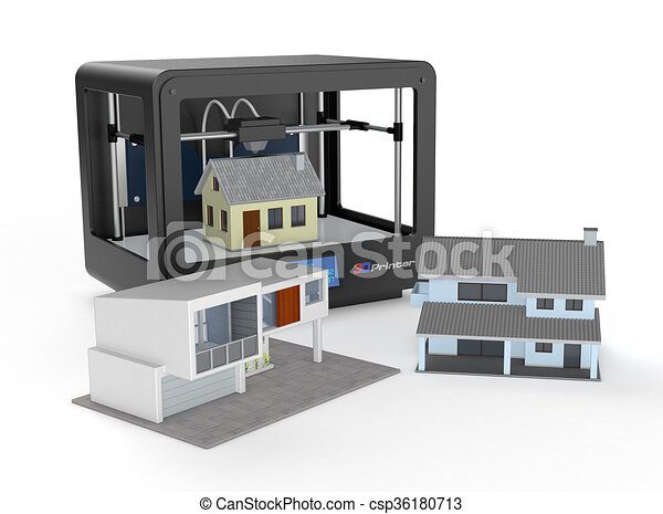 Haus, Begriff, Gebäude, Drucker, 3d   Csp36180713