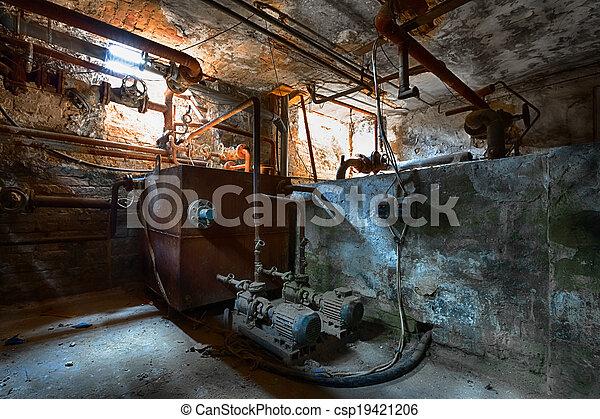 Haus, boiler. Altes , zimmer, detail, boiler, kellergeschoß, building\'s.