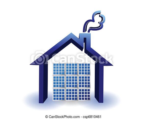 Solare Energiepaneele auf einem Haus - csp6810461