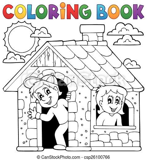 Haus, färbung, kinder, buch, spielende . Färbung, eps10,... Clipart ...