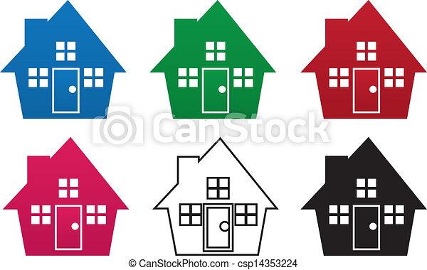Haus, farben, silhouette. Haus, farben, verschieden,... Vektor ...