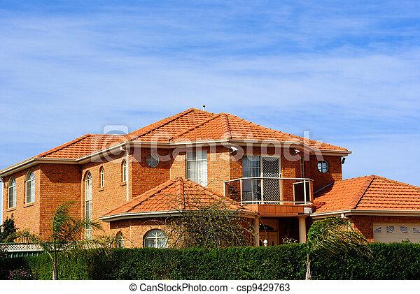 Modernes Haus Mit Terracotta Dachziegel