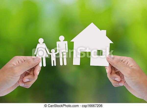 haus, halten, grün, familie, hand - csp16667206