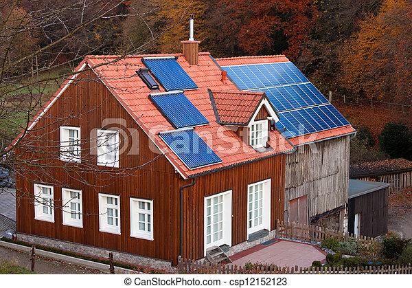 Haus, Heizung, Dach, System, Sonnenkollektoren, Sonne, Ausschüsse    Csp12152123