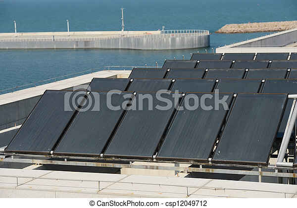 Haus, Heizung, Dach, Wasser, Solarmodul   Csp12049712