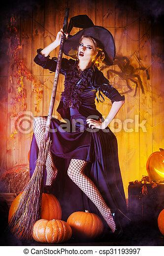 haus hexe sch ne sie h lzern besen halloween hexe. Black Bedroom Furniture Sets. Home Design Ideas