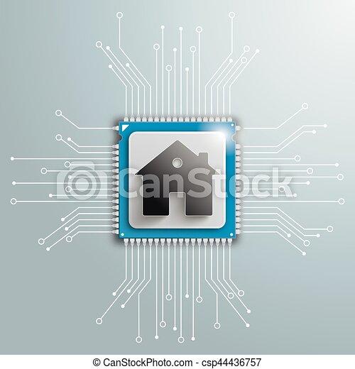 Haus, Infographic, Brett, Stromkreis, Prozessor, Zukunftsidee   Csp44436757