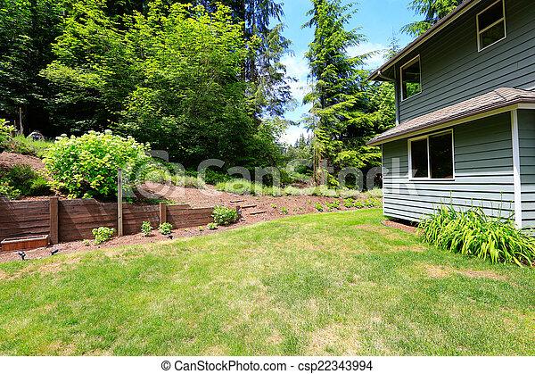 Haus, Landschaftsbild, Hinterhof   Csp22343994
