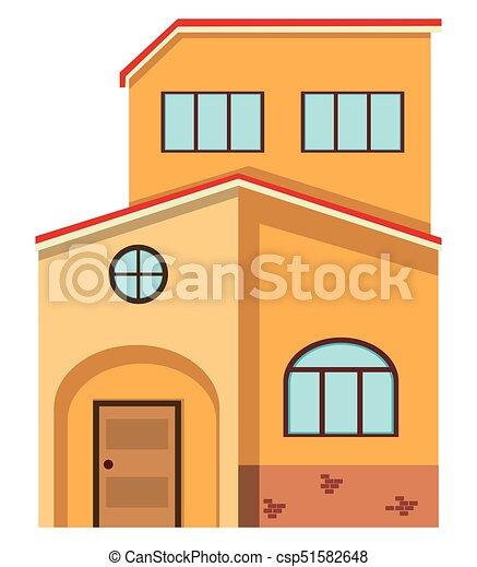 Haus, Mauerstein, Rotes , Dach   Csp51582648