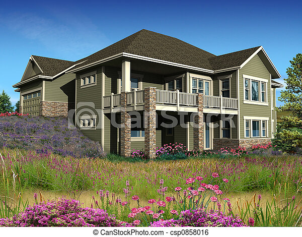 Haus, Modell, 3d   Csp0858016