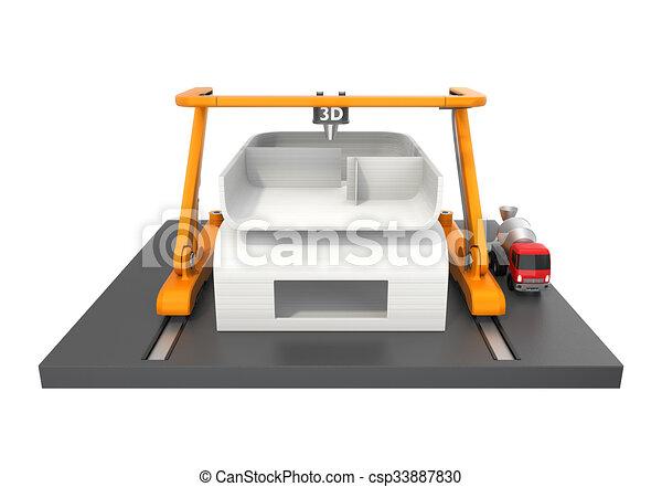 Haus, Modell, Drucker, 3d   Csp33887830
