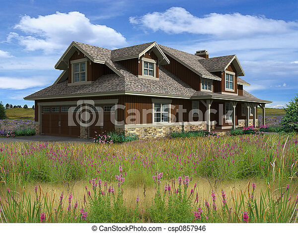 Haus, Modell, Ranch, 3d   Csp0857946