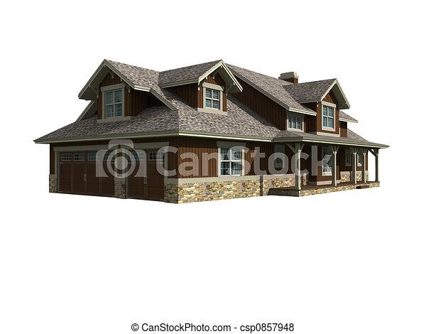 Haus, Modell, Ranch, 3d   Csp0857948