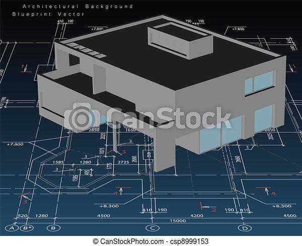 haus, modell, vektor, architektur, blueprint. - csp8999153