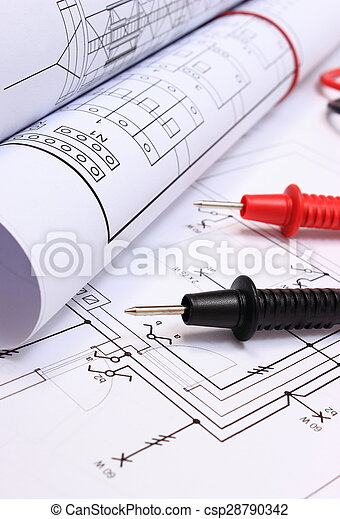 Haus, Multimeter, Zeichnung, Elektrisch, Kabel, Brötchen, Diagramme    Csp28790342