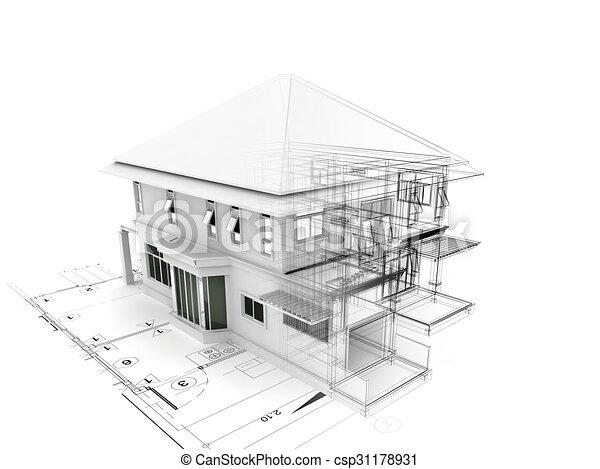 Haus, Plan, Render, 3d   Csp31178931