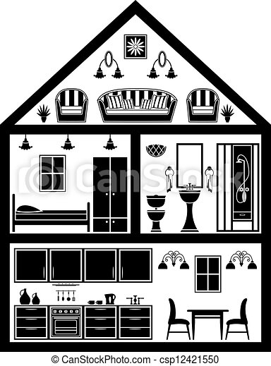 haus planung ikone haus planung schwarz white ikone clipart vektor suche illustration. Black Bedroom Furniture Sets. Home Design Ideas