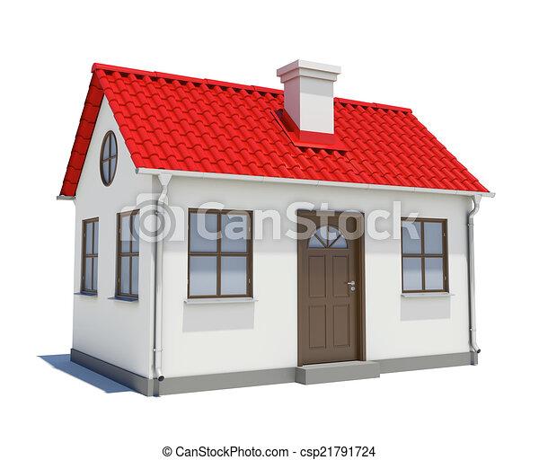 Haus, Rotes , Dach   Csp21791724