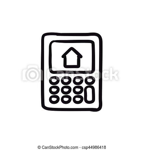Haus Skizze Taschenrechner Icon Textanzeige Website Skizze