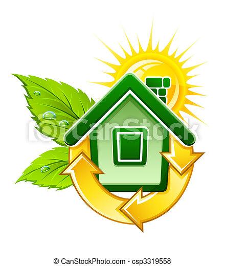 Symbol für ein ökologisches Haus mit Solarenergie - csp3319558