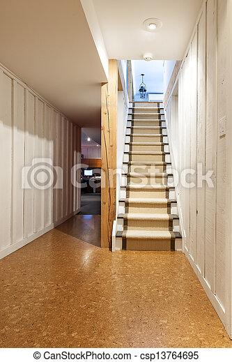 Haus Treppe Kellergeschoss Treppenhaus Fussboden Kork Fertig
