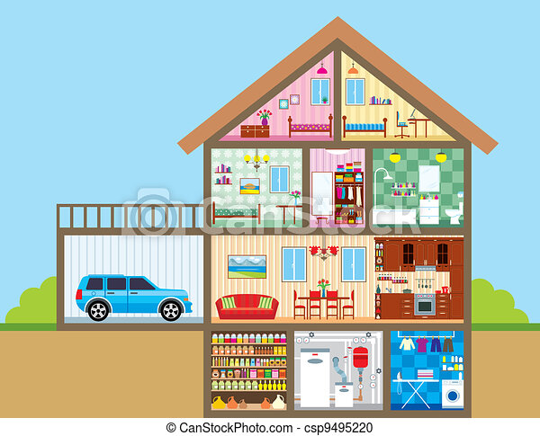 Haus Farbe Vektor Voll Abbildung