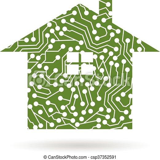Haus, Vektor, Design, Stromkreis, Logo, Logo.   Csp37352591