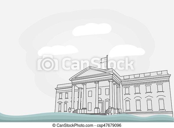 Haus, weißes, gleichstrom, washington. Gleichstrom, haus,... EPS ...
