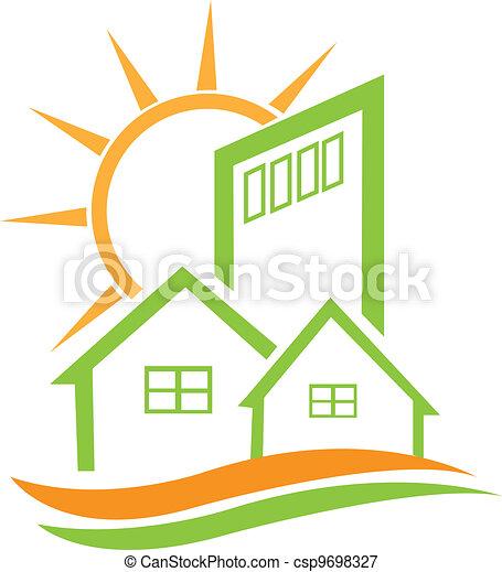haus, wohnhaeuser, grün, sonne - csp9698327