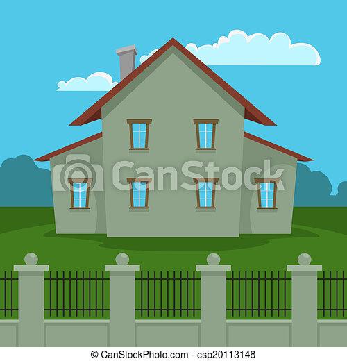 Haus Zaun Haus Karikatur Abbildung Fence